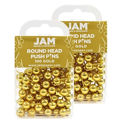 JAM Paper® Colored Map Thumb Tacks, Gold Round Head Push Pins, 2 Packs of 100 (22432213A)