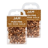 JAM Paper® Colored Pushpins, Rose Gold Push Pins, 2 Packs of 100 (22432063A)