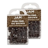 JAM Paper® Colored Pushpins, Chocolate Brown Push Pins, 2 Packs of 100 (222419049A)