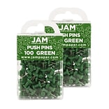 JAM Paper® Colored Pushpins, Green Push Pins, 2 Packs of 100 (2242954A)