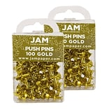 JAM Paper® Colored Pushpins, Gold Push Pins, 2 Packs of 100 (222419051A)