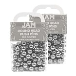 JAM Paper® Colored Map Thumb Tacks, Silver Round Head Push Pins, 2 Packs of 100 (22432214A)