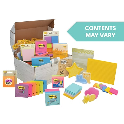 Post-it® Note Treasure Chest, 10 lbs. Assorted Sizes, Colors, Shapes (ED65V10)