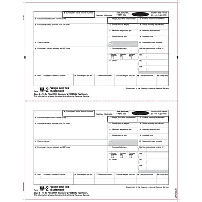TOPS W-2 Tax Form, 1 Part, Copy B, White, 8 1/2 x 11, 100 Forms/Pack (LW2EEBQ)