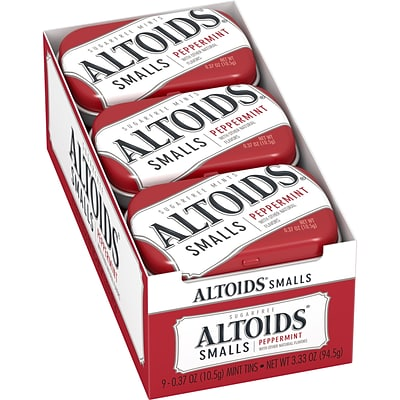 ALTOIDS Smalls Peppermint Breath Mints, 0.37oz Tin, Pack of 9 (209-00486)