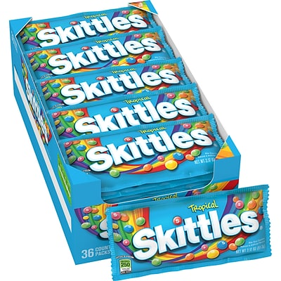 Skittles Tropical Candy, 2.17 oz, Pack of 36 (209-00175) (220-00043)