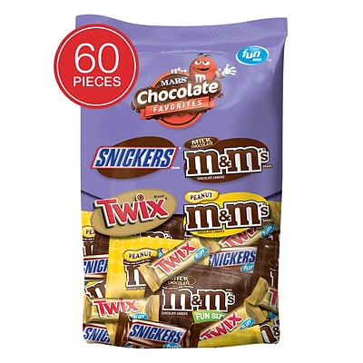 SNICKERS, M&MS & TWIX Individually Wrapped Candy, 2 lb. 60 Piece Variety Mix Bag (225-00033)