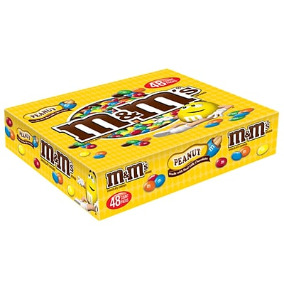 M&MS Peanut Chocolate Candy Singles Size Pouches, 1.74 oz, Pack of 48 (MMM01232)