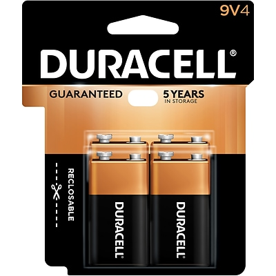 Duracell Coppertop 9V Alkaline Batteries, 4/Pack (MN16RT4Z)