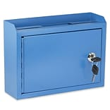 AdirOffice Blue Wall Mountable Suggestion Drop Box 9.75 W x 7 H x 3 D