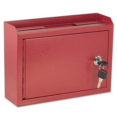 AdirOffice Red Wall Mountable Suggestion Drop Box 9.75 W x 7 H x 3 D