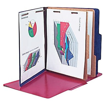 Pendaflex® Color Press Guard® Classification Folders, 2/5-Cut Top Tab, 2 Dividers, 10/Box (1257BL)
