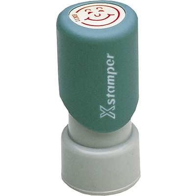Xstamper® Pre-inked Stamps, Red Ink Happy Face