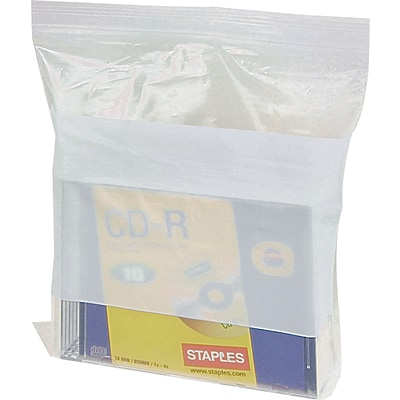 8 x 10 White Block Reclosable Poly Bags, 4 mil, Clear, 1000/Carton (4010A)