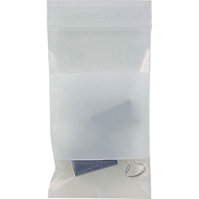 3 x 5 Zipper Top Reclosable Bags with White Block 2 mil, Clear, 1000/Case (3945A)