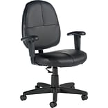 Black Leather Task Chair w/Adj. Arms