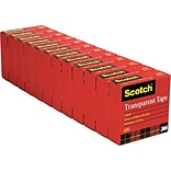 Scotch® Transparent Tape; 3/4 x 1000, 1 Core, 12/Pack