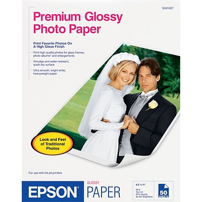 Epson Photo-Quality Inkjet Paper, Premium, Glossy, 68 lbs., 8 x 10, 20 Sheets/Pk