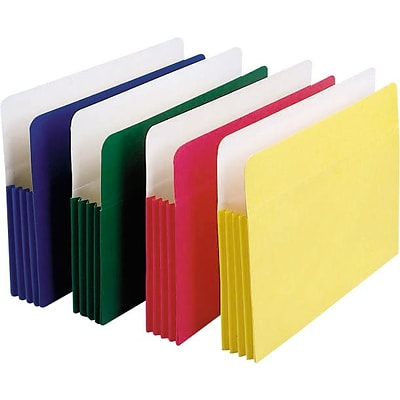 Staples® Colored Expanding File Pockets; 5-1/4 Expansion, Letter, Assorted, 5/Pack