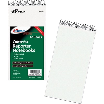 Ampad® Reporters Notebook 4x8, Gregg Ruling, White, 70 Sheets/Pad