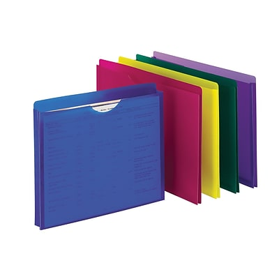 Expanding File Jackets, 1 Expansion, Assorted Colors, Letter, Holds 8-1/2H x 11W, 10/Pk