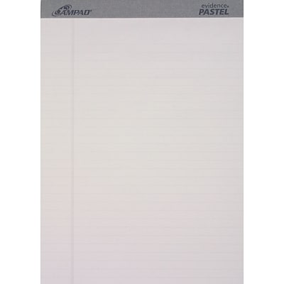 Ampad Evidence® Pastels Perforated Writing Pads, Wide Ruled, Gray, 8 1/2 x 11 3/4, 50 Sheets