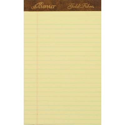 Ampad® Gold Fibre® Writing Pad 5 x 8, Jr. Legal/Medium Ruling, Canary, 50 Sheets/Pad
