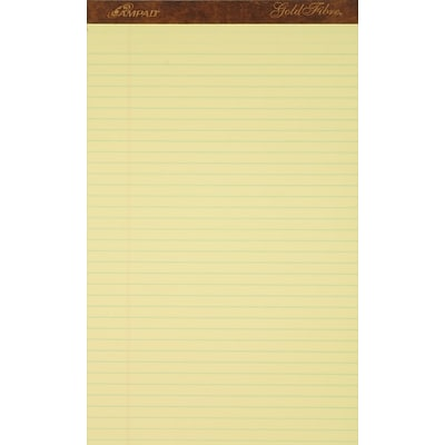 Ampad® Gold Fibre® Writing Pad 8-1/2x14, Wide/Legal Ruling, Canary, 50 Sheets/Pad