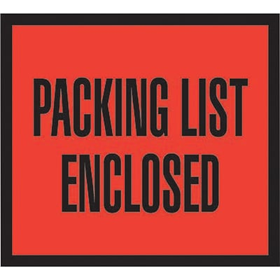 Packing List Envelopes, 4-1/2 x 5-1/2, Red Full Face Packing List Enclosed, 1000/Case