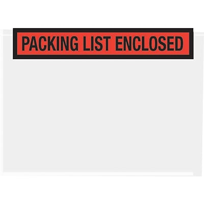 Quality Park Full Face Self-Adhesive Packing List Enclosed Envelopes, Orange, 5 1/2H x 4 1/2W, 1,000/Ct