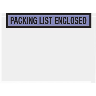 Packing List Envelopes, 7 x 5-1/2, Blue Panel Face Packing List Enclosed, 1000/Case