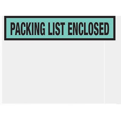 Packing List Envelopes, 4-1/2 x 5-1/2, Green Panel Face Packing List Enclosed, 1000/Case
