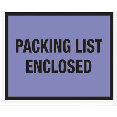 Packing List Envelopes 7 x 5-1/2, Blue Full Face Packing List Enclosed, 1000/Case