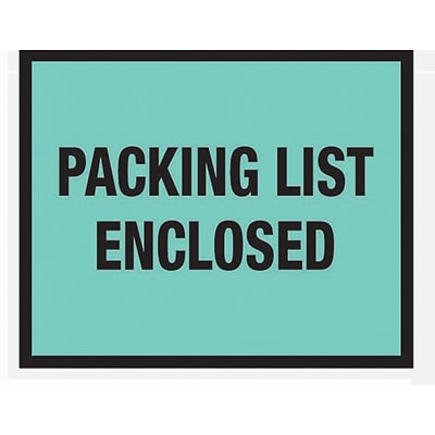 Packing List Envelopes, 7 x 5-1/2, Green Full Face Packing List Enclosed, 1000/Case