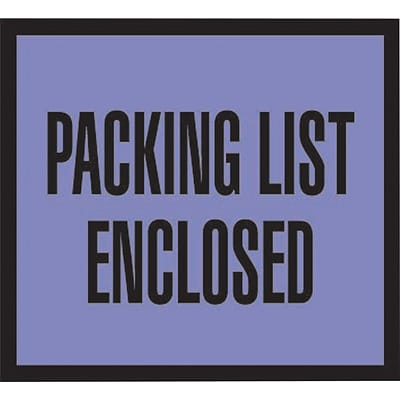 Packing List Envelopes, 4-1/2 x 5-1/2, Blue Full Face Packing List Enclosed, 1000/Case