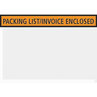 Packing List Envelopes, 4-1/2 x 5-1/2, Orange Panel Face Packing List/Invoice Enclosed, 1000/Case