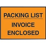 Packing List Envelopes, 4-1/2 x 5-1/2, Orange Full Face Packing List/Invoice Enclosed, 1000/Case