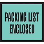Packing List Envelopes, 4-1/2 x 5-1/2, Green Full Face Packing List Enclosed, 1000/Case