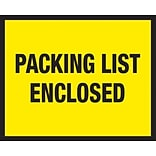 Packing List Envelopes, 7 x 5-1/2, Yellow Full Face Packing List Enclosed, 1000/Case