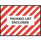 Staples® Packing List Envelopes, 4-1/2 x 6, Red Striped Full Face Packing List Enclosed, 1000/Ca