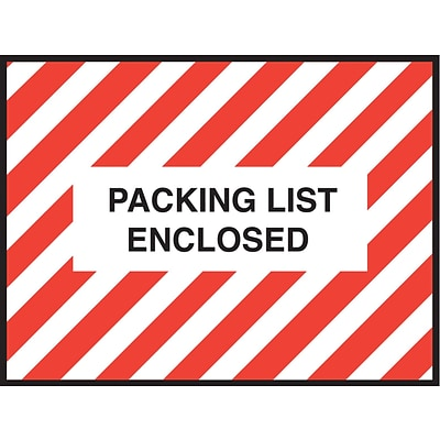 Packing List Envelopes, 4-1/2 x 6, Red Striped Full Face Packing List Enclosed, 1000/Case