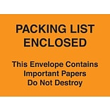 Packing List Envelopes 4-1/2 x 6 Orange Full Face Packing List Enclosed-Do Not Destroy, 1000/Cas