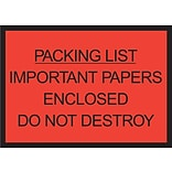 Packing List Envelopes, 4-1/2 x 6, Red Full Face Packing List Enclosed, 1000/Case