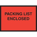 Staples® Packing List Envelopes, 4-1/2 x 6, Red Full Face Packing List Enclosed, 1000/Case