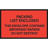Packing List Envelopes, 7 x 6, Red Full Face Packing List Enclosed, 1000/Case