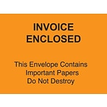 Packing List Envelopes, 4-1/2 x 6 Orange Full Face Invoice Enclosed-Do Not Destroy, 1000/Case