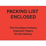 Packing List Envelopes, 7 x 6, Red Paper Face Packing List Enclosed-Do Not Destroy, 1000/Case