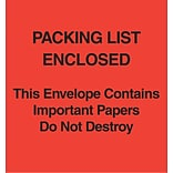 Packing List Envelopes, 5 x 6, Red Paper Face Packing List Enclosed-Do Not Destroy, 1000/Case