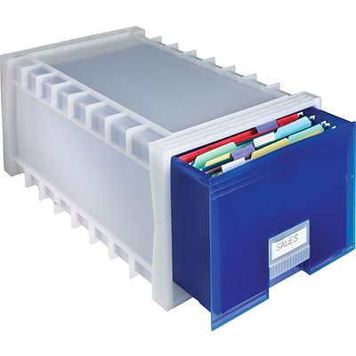 Storex® Stackable Poly Storage Drawer, Letter Size, Indigo