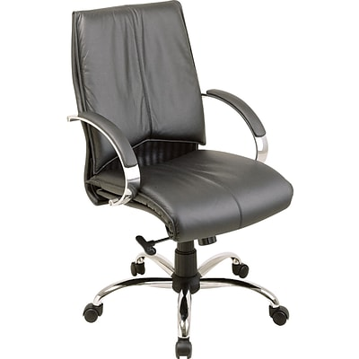 Office Star® Leather Executive Mid-Back Chair; Black and Chrome